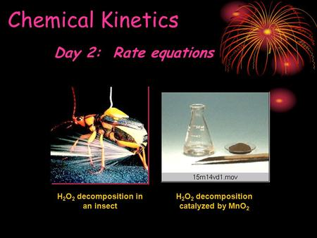 Chemical Kinetics H 2 O 2 decomposition in an insect H 2 O 2 decomposition catalyzed by MnO 2 Day 2: Rate equations.