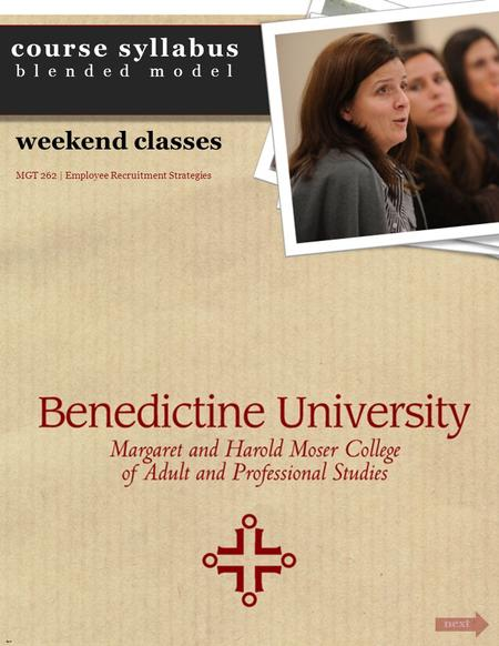 Course syllabus blended model next Cover weekend classes MGT 262 | Employee Recruitment Strategies.