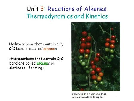 Unit 3: Reactions of Alkenes. Thermodynamics and Kinetics Hydrocarbons that contain only C-C bond are called alkanes Hydrocarbons that contain C=C bond.