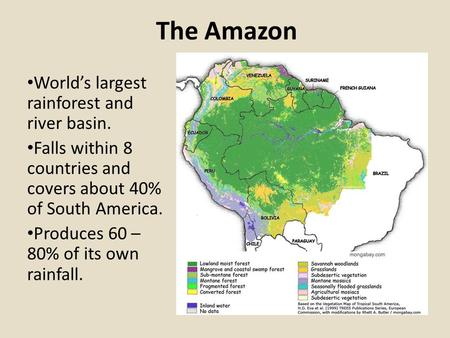 The Amazon World's largest rainforest and river basin. Falls within 8 countries and covers about 40% of South America. Produces 60 – 80% of its own rainfall.