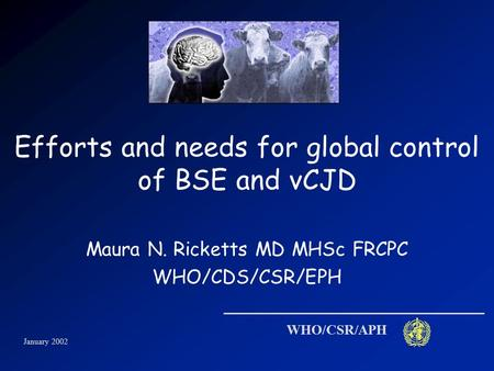 January 2002 WHO/CSR/APH Efforts and needs for global control of BSE and vCJD Maura N. Ricketts MD MHSc FRCPC WHO/CDS/CSR/EPH.
