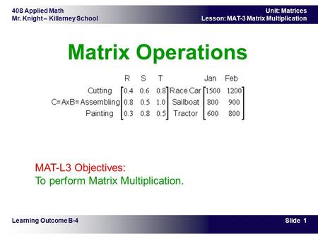 40S Applied Math Mr. Knight – Killarney School Slide 1 Unit: Matrices Lesson: MAT-3 Matrix Multiplication Matrix Operations Learning Outcome B-4 MAT-L3.