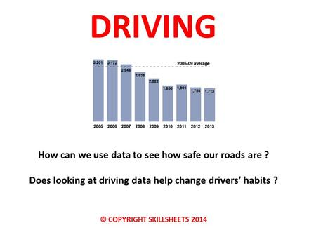 DRIVING How can we use data to see how safe our roads are ? Does looking at driving data help change drivers' habits ? © COPYRIGHT SKILLSHEETS 2014.