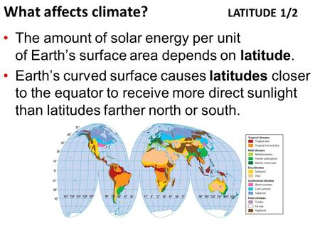 The amount of solar energy per unit of Earth's surface area depends on latitude. Earth's curved surface causes latitudes closer to the equator to receive.
