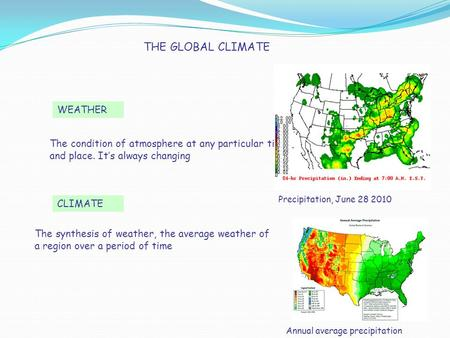THE GLOBAL CLIMATE WEATHER CLIMATE The condition of atmosphere at any particular time and place. It's always changing The synthesis of weather, the average.