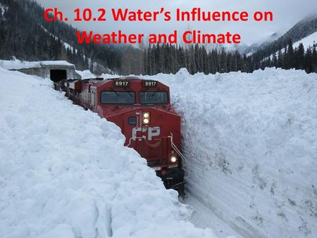 Ch. 10.2 Water's Influence on Weather and Climate.