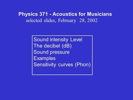Physics Acoustics for Musicians