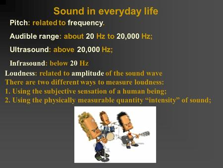 Sound in everyday life Pitch: related to frequency. Audible range: about 20 Hz to 20,000 Hz; Ultrasound: above 20,000 Hz; Infrasound: below 20 Hz Loudness: