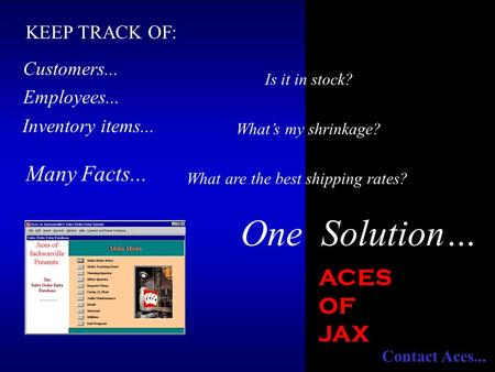 Employees... Customers... Many Facts... Inventory items... What are the best shipping rates? Is it in stock? What's my shrinkage? One Solution… KEEP TRACK.