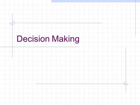 Decision Making. Advanced Organizer Chapter Objectives Explain the process of management science Be able to solve problems using three types of decision.
