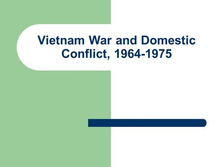 Vietnam War and Domestic Conflict, 1964-1975. Social Change in America Civil Rights Movement and Desegregation Power Movements Assassination of JFK 1963;