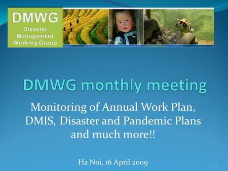 Monitoring of Annual Work Plan, DMIS, Disaster and Pandemic Plans and much more!! Ha Noi, 16 April 2009 1.