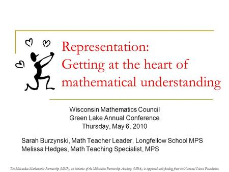 Representation: Getting at the heart of mathematical understanding Wisconsin Mathematics Council Green Lake Annual Conference Thursday, May 6, 2010 Sarah.