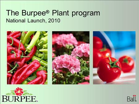 The Burpee ® Plant program National Launch, 2010.