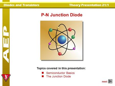P-N Junction Diode Topics covered in this presentation: