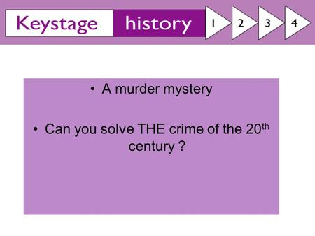 A murder mystery Can you solve THE crime of the 20 th century ?