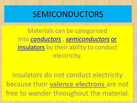 SEMICONDUCTORS Materials can be categorised into conductors, semiconductors or insulators by their ability to conduct electricity.conductorssemiconductorsor.