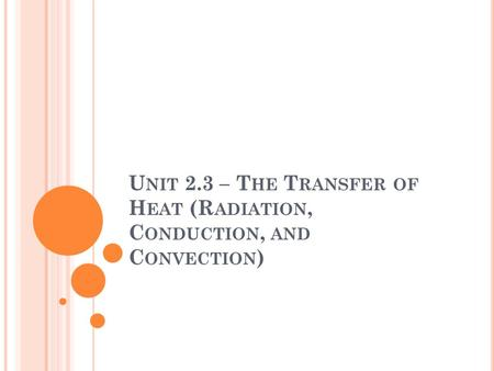 U NIT 2.3 – T HE T RANSFER OF H EAT (R ADIATION, C ONDUCTION, AND C ONVECTION )