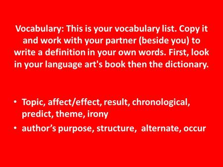 Vocabulary: This is your vocabulary list