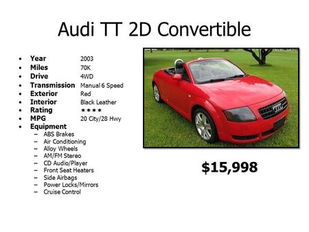 Audi TT 2D Convertible Year 2003 Miles 70K Drive 4WD Transmission Manual 6 Speed Exterior Red Interior Black Leather Rating  MPG 20 City/28 Hwy Equipment.