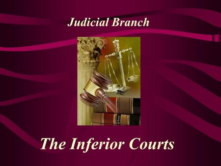 The Inferior Courts Judicial Branch Inferior Courts Lower federal courts created by congress in the Judiciary Act of 1789 –Currently 94 of them –89 federal.