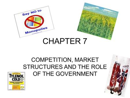 CHAPTER 7 COMPETITION, MARKET STRUCTURES AND THE ROLE OF THE GOVERNMENT.