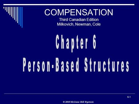 © 2010 McGraw Hill Ryerson 6-1 COMPENSATION Third Canadian Edition Milkovich, Newman, Cole.