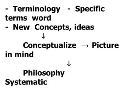 - Terminology - Specific terms word - New Concepts, ideas  Conceptualize → Picture in mind  Philosophy Systematic.