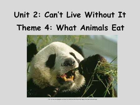 Unit 2: Can't Live Without It Theme 4: What Animals Eat