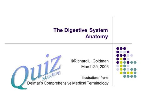 The Digestive System Anatomy ©Richard L. Goldman March 25, 2003 Illustrations from: Delmar's Comprehensive Medical Terminology.