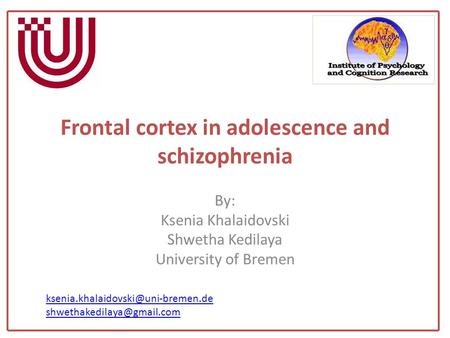 Frontal cortex in adolescence and schizophrenia By: Ksenia Khalaidovski Shwetha Kedilaya University of Bremen