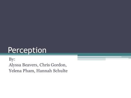 Perception By: Alyssa Beavers, Chris Gordon, Yelena Pham, Hannah Schulte.