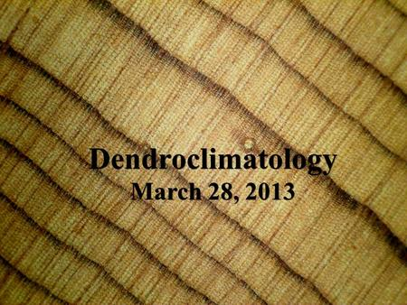 Dendroclimatology March 28, 2013 Dendroclimatology March 28, 2013.