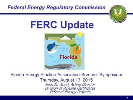 1 Federal Energy Regulatory Commission John M. Wood, Acting Director Division of Pipeline Certificates Office of Energy Projects FERC Update Florida Energy.