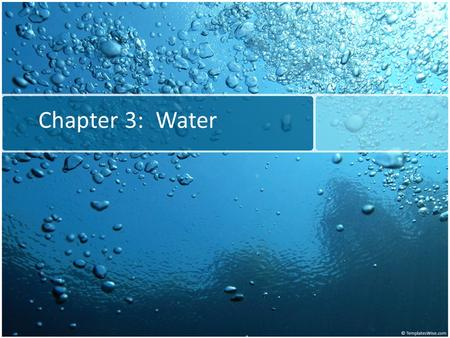 Chapter 3: Water. Water: The Molecule That Supports All of Life Water is the biological medium here on Earth All living organisms require water more than.