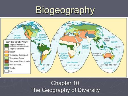 Biogeography Chapter 10 The Geography of Diversity.