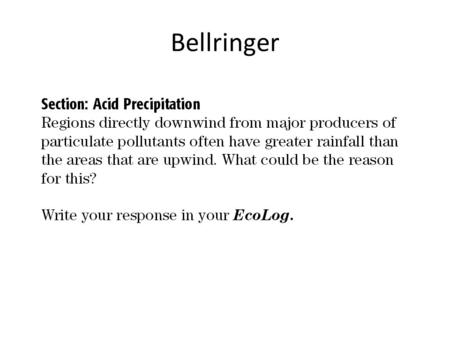 Bellringer. Acid precipitation is precipitation, such as rain, sleet, or snow, that contains a high concentration of acids, often because of the pollution.