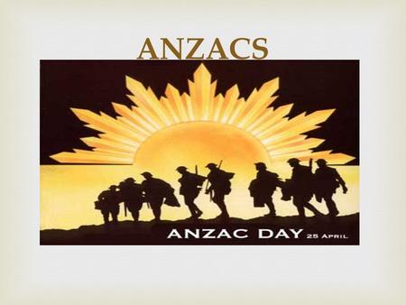  ANZACS.   Its means Australia and New Zealand Army Corps. What is ANZACS ??