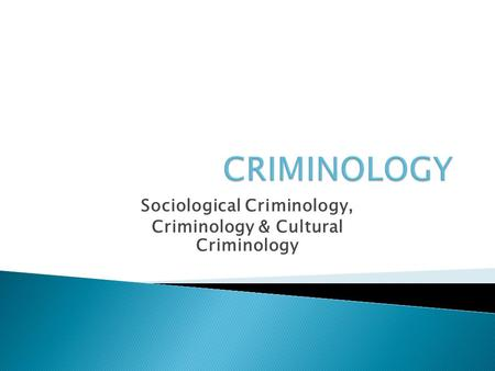 Sociological Criminology, Criminology & Cultural Criminology.