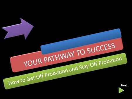 YOUR PATHWAY TO SUCCESS How to Get Off Probation and Stay Off Probation Next.