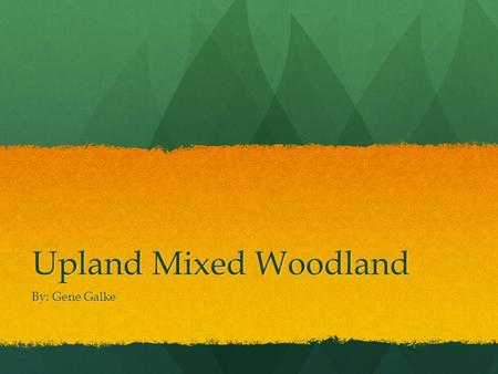 Upland Mixed Woodland By: Gene Galke.