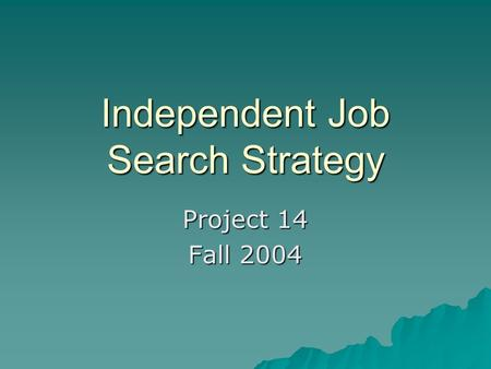 Independent Job Search Strategy Project 14 Fall 2004.