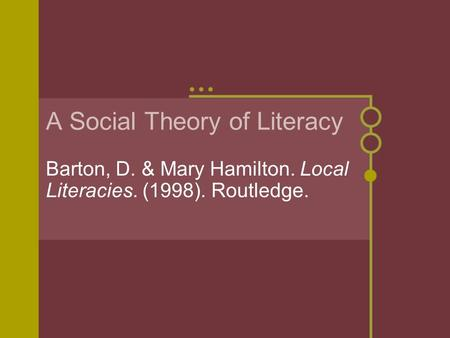 A Social Theory of Literacy Barton, D. & Mary Hamilton. Local Literacies. (1998). Routledge.