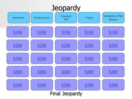 Jeopardy $100 BeatitudesWords to know Liturgical Year Virtue Mysteries of the Rosary $200 $300 $400 $500 $400 $300 $200 $100 $500 $400 $300 $200 $100.