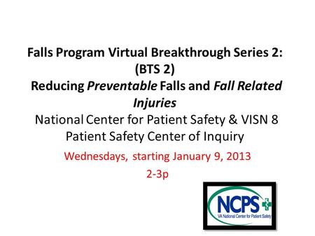 Falls Program Virtual Breakthrough Series 2: (BTS 2) Reducing Preventable Falls and Fall Related Injuries National Center for Patient Safety & VISN 8 Patient.