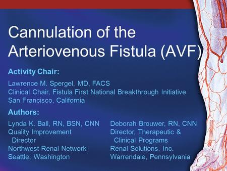 Cannulation of the Arteriovenous Fistula (AVF) Lynda K. Ball, RN, BSN, CNN Quality Improvement Director Northwest Renal Network Seattle, Washington Activity.