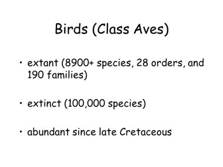 Birds (Class Aves) extant (8900+ species, 28 orders, and 190 families) extinct (100,000 species) abundant since late Cretaceous.
