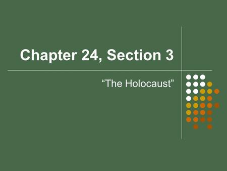 "Chapter 24, Section 3 ""The Holocaust"". What factors led to the Holocaust?"