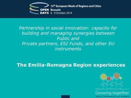 Partnership in social innovation: capacity for building and managing synergies between Public and Private partners, ESI Funds, and other EU instruments.