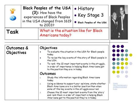 Outcomes & Objectives Objectives To evaluate the situation in the USA for Black people today. To revise the key events of the story of Black people in.